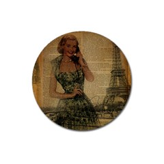 Retro Telephone Lady Vintage Newspaper Print Pin Up Girl Paris Eiffel Tower Magnet 3  (round) by chicelegantboutique