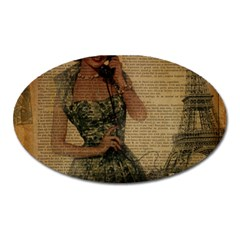 Retro Telephone Lady Vintage Newspaper Print Pin Up Girl Paris Eiffel Tower Magnet (oval) by chicelegantboutique