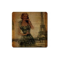Retro Telephone Lady Vintage Newspaper Print Pin Up Girl Paris Eiffel Tower Magnet (square) by chicelegantboutique