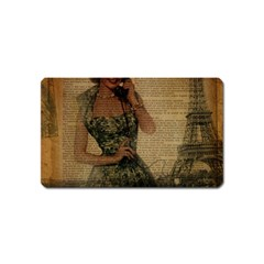 Retro Telephone Lady Vintage Newspaper Print Pin Up Girl Paris Eiffel Tower Magnet (name Card) by chicelegantboutique