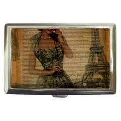 Retro Telephone Lady Vintage Newspaper Print Pin Up Girl Paris Eiffel Tower Cigarette Money Case by chicelegantboutique