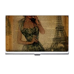Retro Telephone Lady Vintage Newspaper Print Pin Up Girl Paris Eiffel Tower Business Card Holder