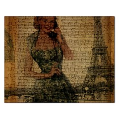 Retro Telephone Lady Vintage Newspaper Print Pin Up Girl Paris Eiffel Tower Jigsaw Puzzle (rectangle) by chicelegantboutique