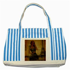 Retro Telephone Lady Vintage Newspaper Print Pin Up Girl Paris Eiffel Tower Blue Striped Tote Bag by chicelegantboutique