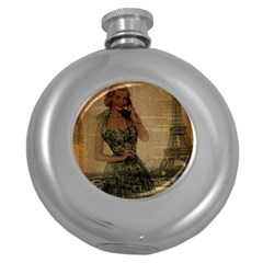 Retro Telephone Lady Vintage Newspaper Print Pin Up Girl Paris Eiffel Tower Hip Flask (round) by chicelegantboutique