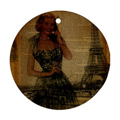 Retro Telephone Lady Vintage Newspaper Print Pin Up Girl Paris Eiffel Tower Round Ornament (two Sides) by chicelegantboutique