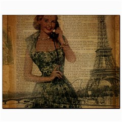 Retro Telephone Lady Vintage Newspaper Print Pin Up Girl Paris Eiffel Tower Canvas 8  X 10  (unframed)