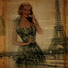 Retro Telephone Lady Vintage Newspaper Print Pin Up Girl Paris Eiffel Tower Canvas 16  X 16  (unframed) by chicelegantboutique
