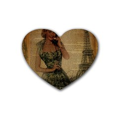 Retro Telephone Lady Vintage Newspaper Print Pin Up Girl Paris Eiffel Tower Drink Coasters (heart) by chicelegantboutique
