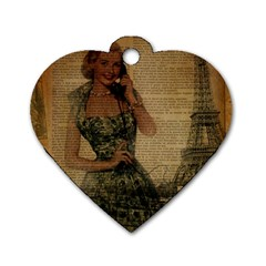 Retro Telephone Lady Vintage Newspaper Print Pin Up Girl Paris Eiffel Tower Dog Tag Heart (one Sided)  by chicelegantboutique