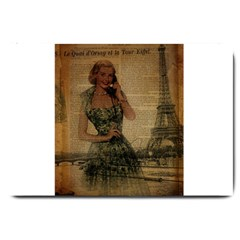Retro Telephone Lady Vintage Newspaper Print Pin Up Girl Paris Eiffel Tower Large Door Mat