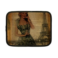 Retro Telephone Lady Vintage Newspaper Print Pin Up Girl Paris Eiffel Tower Netbook Case (small) by chicelegantboutique