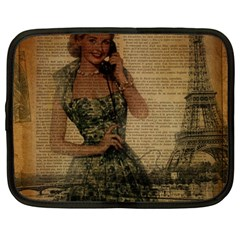 Retro Telephone Lady Vintage Newspaper Print Pin Up Girl Paris Eiffel Tower Netbook Case (large) by chicelegantboutique