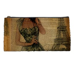 Retro Telephone Lady Vintage Newspaper Print Pin Up Girl Paris Eiffel Tower Pencil Case by chicelegantboutique