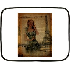 Retro Telephone Lady Vintage Newspaper Print Pin Up Girl Paris Eiffel Tower Mini Fleece Blanket (two Sided) by chicelegantboutique
