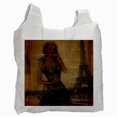 Retro Telephone Lady Vintage Newspaper Print Pin Up Girl Paris Eiffel Tower Recycle Bag (one Side) by chicelegantboutique