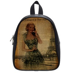 Retro Telephone Lady Vintage Newspaper Print Pin Up Girl Paris Eiffel Tower School Bag (small) by chicelegantboutique