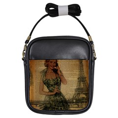 Retro Telephone Lady Vintage Newspaper Print Pin Up Girl Paris Eiffel Tower Girl s Sling Bag by chicelegantboutique