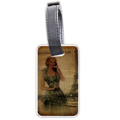 Retro Telephone Lady Vintage Newspaper Print Pin Up Girl Paris Eiffel Tower Luggage Tag (two Sides) by chicelegantboutique