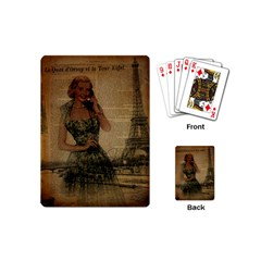 Retro Telephone Lady Vintage Newspaper Print Pin Up Girl Paris Eiffel Tower Playing Cards (mini) by chicelegantboutique