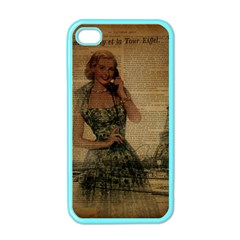 Retro Telephone Lady Vintage Newspaper Print Pin Up Girl Paris Eiffel Tower Apple Iphone 4 Case (color)