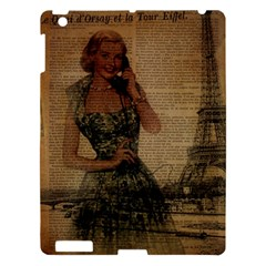 Retro Telephone Lady Vintage Newspaper Print Pin Up Girl Paris Eiffel Tower Apple Ipad 3/4 Hardshell Case by chicelegantboutique