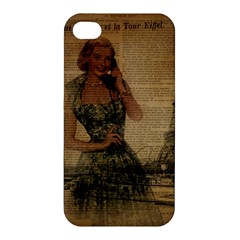 Retro Telephone Lady Vintage Newspaper Print Pin Up Girl Paris Eiffel Tower Apple Iphone 4/4s Premium Hardshell Case by chicelegantboutique