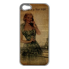 Retro Telephone Lady Vintage Newspaper Print Pin Up Girl Paris Eiffel Tower Apple Iphone 5 Case (silver) by chicelegantboutique
