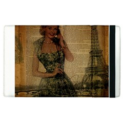 Retro Telephone Lady Vintage Newspaper Print Pin Up Girl Paris Eiffel Tower Apple Ipad 3/4 Flip Case by chicelegantboutique