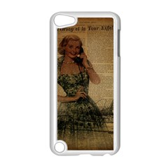Retro Telephone Lady Vintage Newspaper Print Pin Up Girl Paris Eiffel Tower Apple Ipod Touch 5 Case (white) by chicelegantboutique