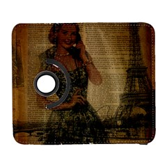 Retro Telephone Lady Vintage Newspaper Print Pin Up Girl Paris Eiffel Tower Samsung Galaxy S  Iii Flip 360 Case by chicelegantboutique