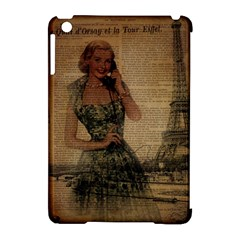 Retro Telephone Lady Vintage Newspaper Print Pin Up Girl Paris Eiffel Tower Apple Ipad Mini Hardshell Case (compatible With Smart Cover) by chicelegantboutique