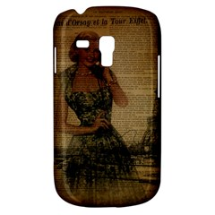 Retro Telephone Lady Vintage Newspaper Print Pin Up Girl Paris Eiffel Tower Samsung Galaxy S3 Mini I8190 Hardshell Case by chicelegantboutique