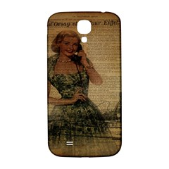 Retro Telephone Lady Vintage Newspaper Print Pin Up Girl Paris Eiffel Tower Samsung Galaxy S4 I9500/i9505  Hardshell Back Case by chicelegantboutique