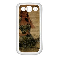 Retro Telephone Lady Vintage Newspaper Print Pin Up Girl Paris Eiffel Tower Samsung Galaxy S3 Back Case (white) by chicelegantboutique