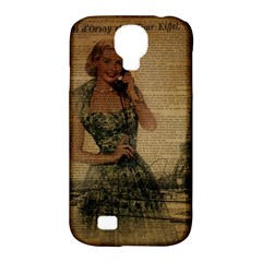 Retro Telephone Lady Vintage Newspaper Print Pin Up Girl Paris Eiffel Tower Samsung Galaxy S4 Classic Hardshell Case (pc+silicone) by chicelegantboutique