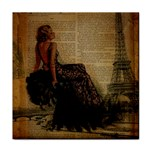 Elegant Evening Gown Lady Vintage Newspaper Print Pin Up Girl Paris Eiffel Tower Ceramic Tile Front