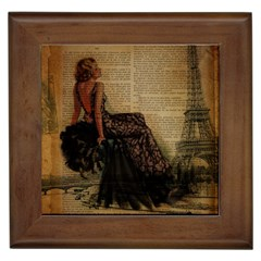 Elegant Evening Gown Lady Vintage Newspaper Print Pin Up Girl Paris Eiffel Tower Framed Ceramic Tile by chicelegantboutique