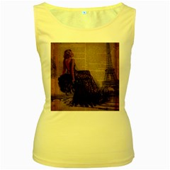Elegant Evening Gown Lady Vintage Newspaper Print Pin Up Girl Paris Eiffel Tower Womens  Tank Top (yellow) by chicelegantboutique