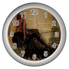 Elegant Evening Gown Lady Vintage Newspaper Print Pin Up Girl Paris Eiffel Tower Wall Clock (silver) by chicelegantboutique