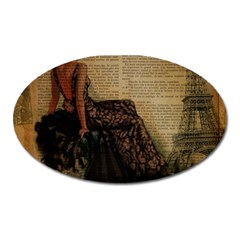 Elegant Evening Gown Lady Vintage Newspaper Print Pin Up Girl Paris Eiffel Tower Magnet (oval) by chicelegantboutique