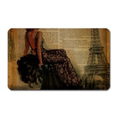 Elegant Evening Gown Lady Vintage Newspaper Print Pin Up Girl Paris Eiffel Tower Magnet (rectangular) by chicelegantboutique