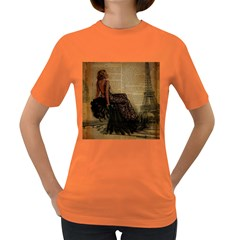 Elegant Evening Gown Lady Vintage Newspaper Print Pin Up Girl Paris Eiffel Tower Womens' T Shirt (colored) by chicelegantboutique