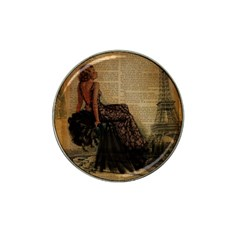 Elegant Evening Gown Lady Vintage Newspaper Print Pin Up Girl Paris Eiffel Tower Golf Ball Marker 4 Pack (for Hat Clip) by chicelegantboutique