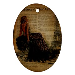 Elegant Evening Gown Lady Vintage Newspaper Print Pin Up Girl Paris Eiffel Tower Oval Ornament (two Sides) by chicelegantboutique