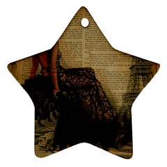 Elegant Evening Gown Lady Vintage Newspaper Print Pin Up Girl Paris Eiffel Tower Star Ornament (two Sides) by chicelegantboutique