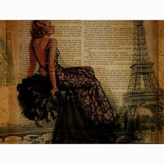 Elegant Evening Gown Lady Vintage Newspaper Print Pin Up Girl Paris Eiffel Tower Canvas 12  X 16  (unframed) by chicelegantboutique