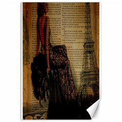 Elegant Evening Gown Lady Vintage Newspaper Print Pin Up Girl Paris Eiffel Tower Canvas 12  X 18  (unframed) by chicelegantboutique