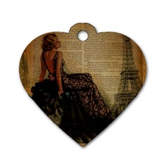 Elegant Evening Gown Lady Vintage Newspaper Print Pin Up Girl Paris Eiffel Tower Dog Tag Heart (one Sided)  by chicelegantboutique