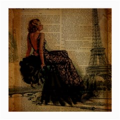Elegant Evening Gown Lady Vintage Newspaper Print Pin Up Girl Paris Eiffel Tower Glasses Cloth (medium) by chicelegantboutique